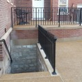 A view of both patio and basement rails