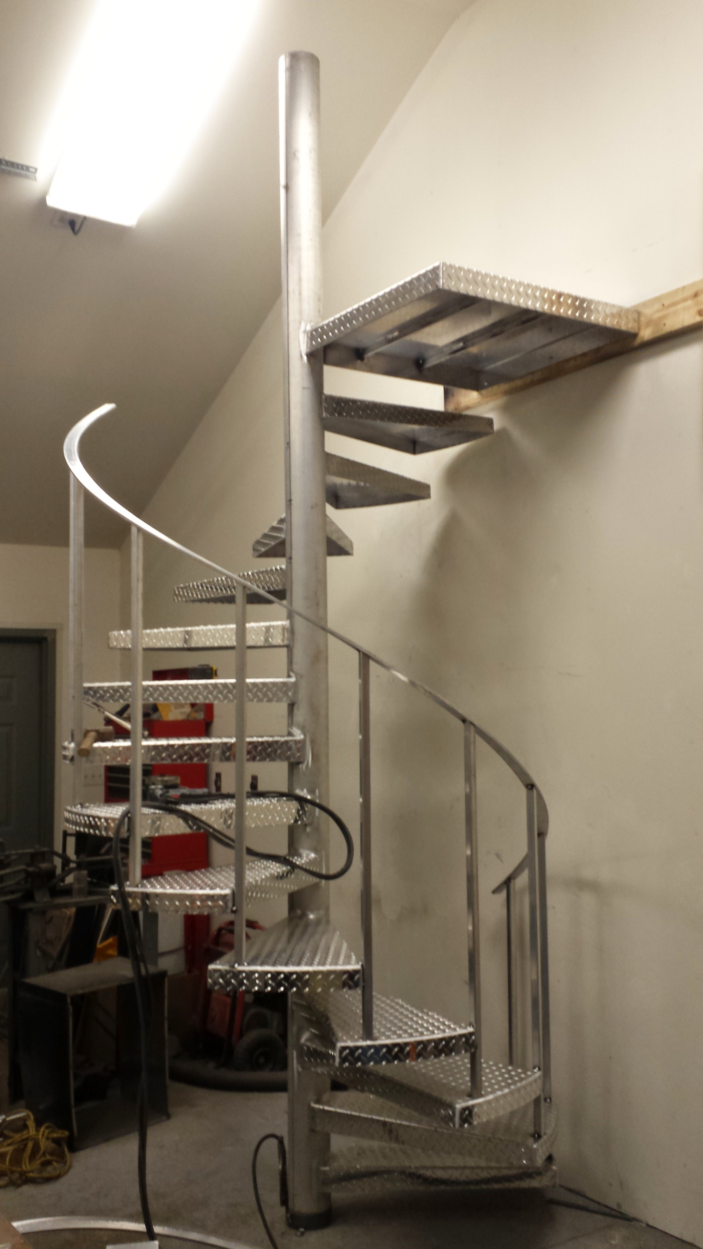 ... Steel Spiral Staircase That The Paint Was Peeling Off Of And Wanted To  Replace It. Since Their Other Handrails On The Deck Were Powder Coated  Aluminum, ...
