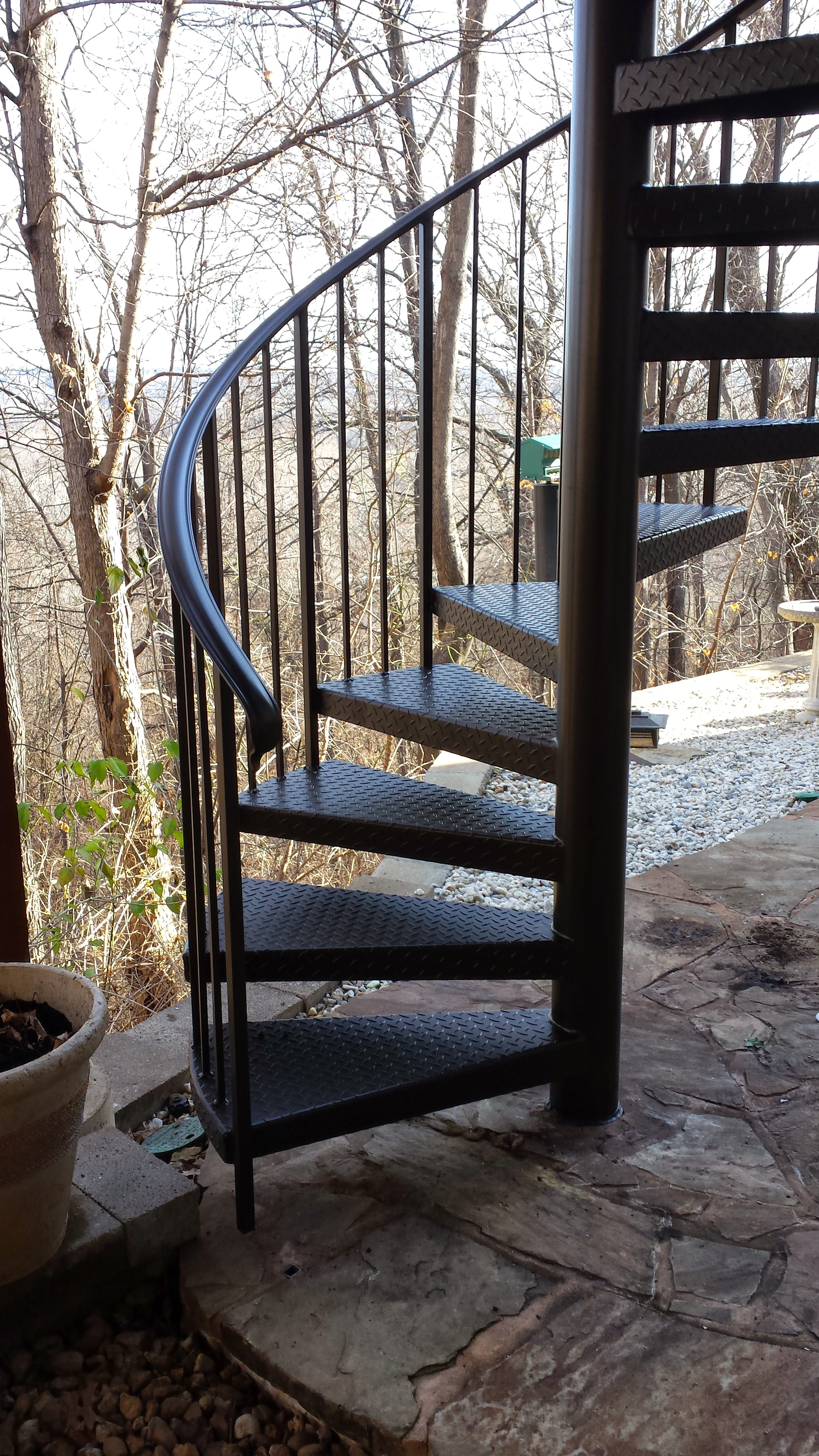Our Customer Had An Existing Steel Spiral Staircase That The Paint Was Ling Off Of And Wanted To Replace It Since Their Other Handrails On Deck Were