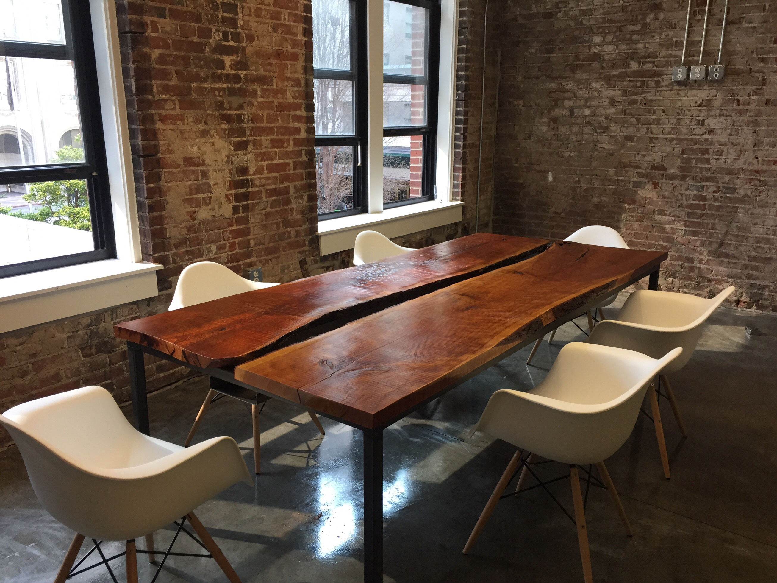 Tremendous Steel Red Oak Slab Conference Table Sd Metalworks Download Free Architecture Designs Crovemadebymaigaardcom